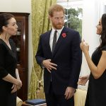 Harry and Meghan are pictured meeting New Zealands prime minister Jacinda Ardern at Government House in Wellington today