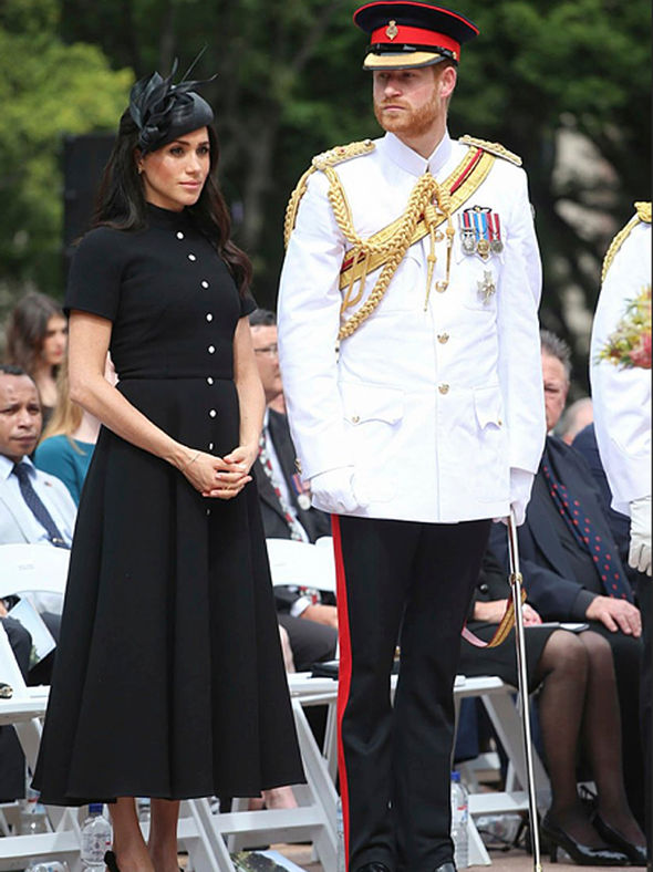 Harry and Meghan attended a sombre wreath laying ceremony ahead of the Opening Ceremony yesterday Image Pool Samir Hussein WireImage