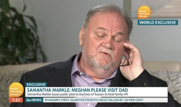It is unclear if Thomas Markle knows his daughter is pregnant Image ITV