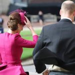 Kate Middleton holding on to her hat as she enters the chapel Image PA
