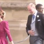 Kate Middleton wearing an Alexander McQueen and Prince William arrived at St Georges Chapel Image ITV