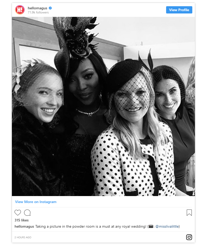 Kate Moss took a behind the scenes photo at the royal wedding with her daughter Lila Moss Naomi Campbell and Demi Moore Photo C INSTAGRAM