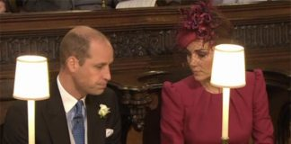 Kate and Prince William sat down inside the chapel Image ITV