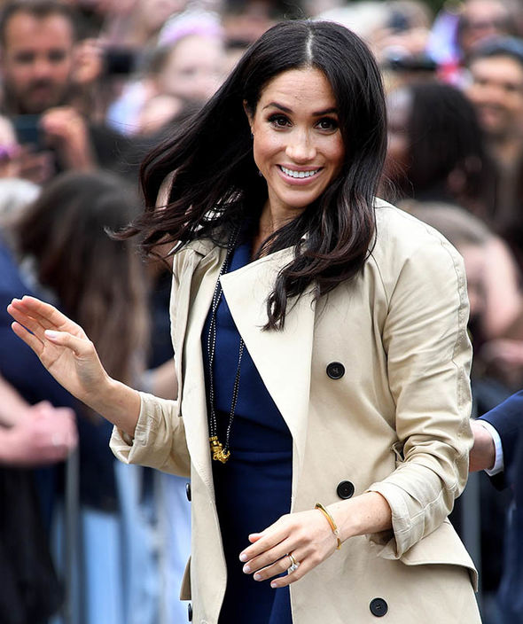 Meghan Markle Australia tour The Duchess of Sussex immediately put on the necklace Image Getty