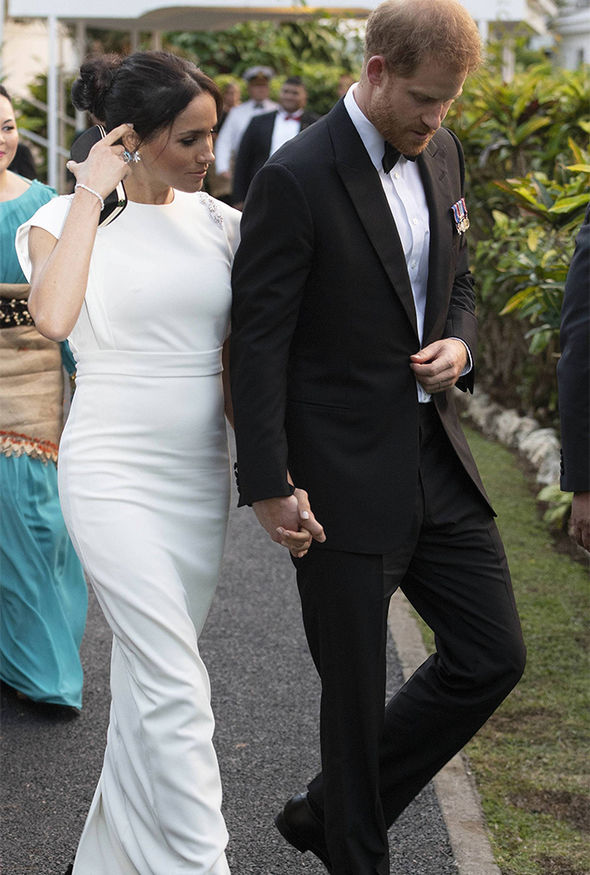 Meghan Markle dazzled in white as she arrived to meet the King and Queen of Tonga Image PA