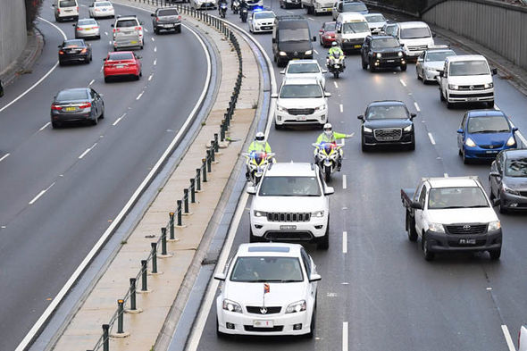 Meghan Markle and Harry make their way through peak time traffic Image EPA