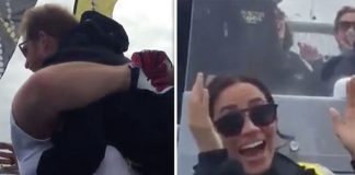 Meghan Markle and Prince Harry Meghan laughed while the sailor bear hugged Harry Image Kensington Royal