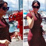 Meghan Markle has stepped out on Fraser Island wearing a stunning polka dot dress Image herveybayecomarinetours