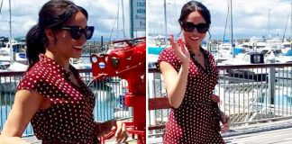 Meghan Markle has stepped out on Fraser Island wearing a stunning polka dot dress Image herveybayecomarinetours