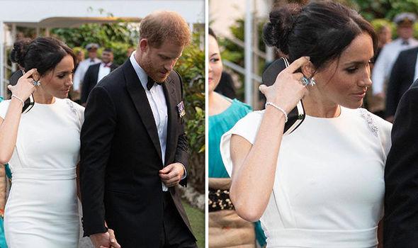 Meghan Markle has worn a ring belonging to Princess Diana on her visit to Tonga Image PA