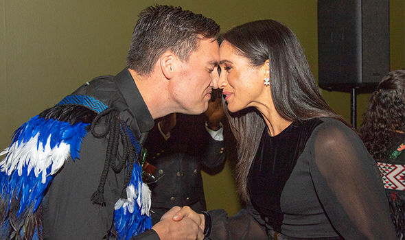 Meghan Markle news the Duchess of Sussex is welcomed with a traditional Maori greeting (Image GETTY)