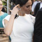 Meghan Markle showed off the dazzling aquamarine ring Image PA