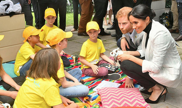 Meghan and Harry spoke to young children ahead of their dinner with the Aussie PM Image Samir Hussein WireImage