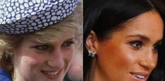 Meghan chose to wear a pair of earrings that once belonged to her mother in law Princess Diana Photo C GETTY IMAGES