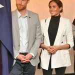 Meghan covered her baby bump with a white jacket Image Samir Hussein WireImage