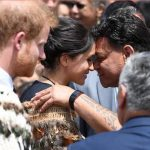 Meghan has become quite adept at the Hongi the traditional Maori greeting during her 4 day visit to New Zealand Photo C GETTY