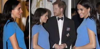 Meghan has showed off her growing baby bump in a stunning blue dress Image PA