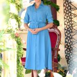 Meghan is hot on Kates heels at number two when it comes to influencing US shoppers The Duchess of Sussex is pictured wearing a dress