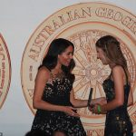 Meghan presents Sophia Skarparis with the Young Conservationist of the Year award for her work to ban plastic bags