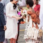 Meghan was presented with a beautiful bunch of flowers Image Getty