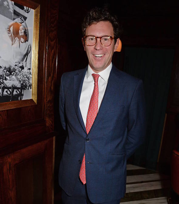 Mr Brooksbank was on his own in London but paid tribute to Princess Eugenie with his tie Image GETTY