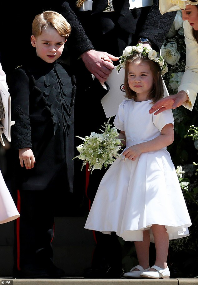 Pageboy George five sported a miniature version of the Blues and Royals frockcoat worn by his uncle Harry 34 while Charlotte