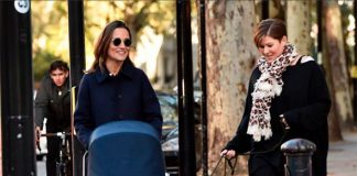 Pippa Middleton appeared to be enjoying the stroll in Kensington with her new baby boy Image SPLASHNEWSCOM