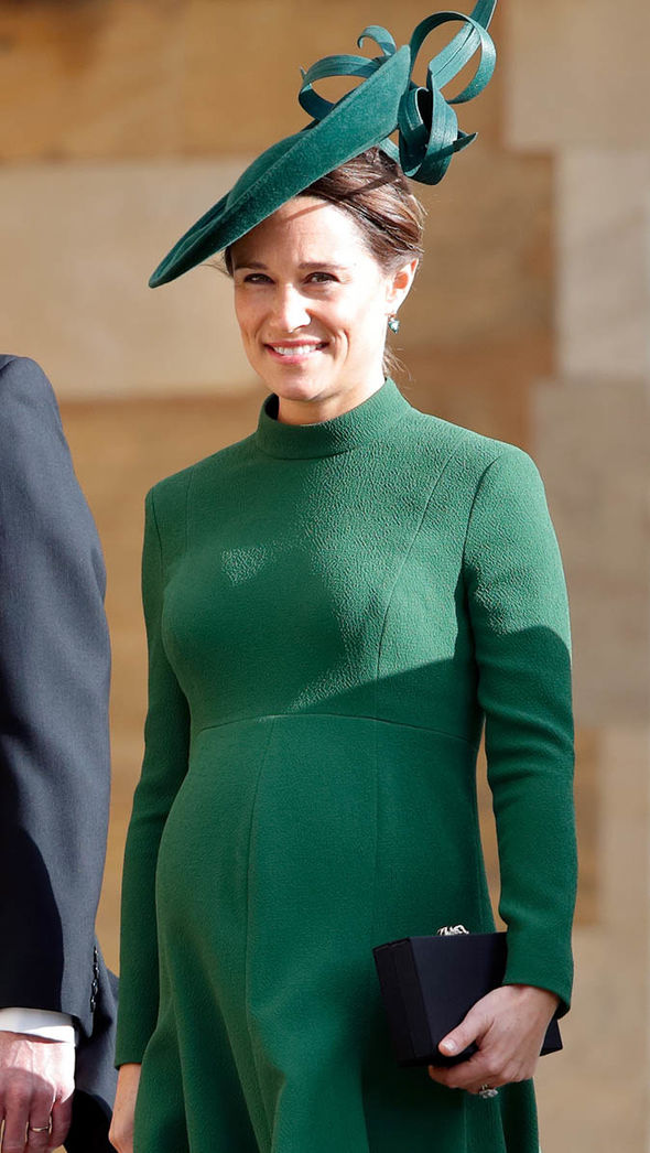 Pippa Middleton attended the wedding of Eugenie on Friday looking heavily pregnant Image GETTY