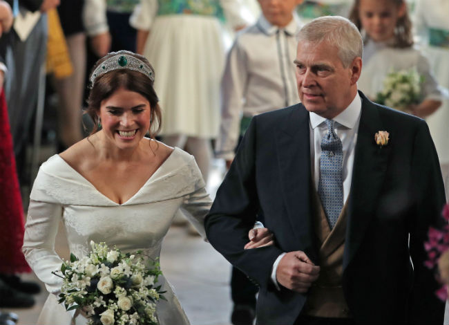Prince Andrew escorting royal bride Eugenie down the aisle in October Photo C GETTY