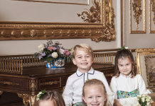 Prince George and Princess Charlotte Elizabeth Diana Official Photo on Princess Eugenie Wedding Photo C Alex Bramall MEGA