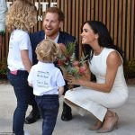 Prince Harry and Meghan Markle meet Findlay Blue four and Dasha Gallagher six after they officially opened the Taronga 1