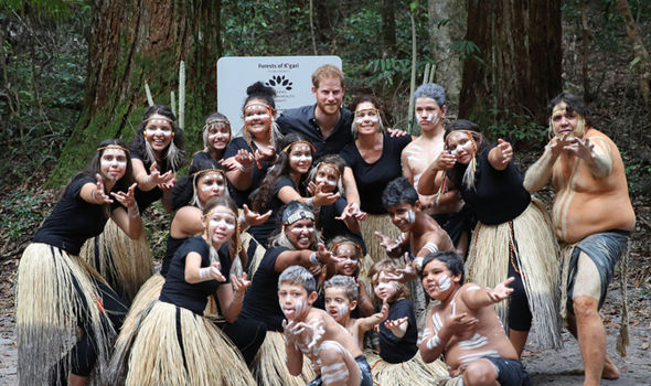Prince Harry took part in a traditional Welcome to Country smoking ceremony on Fraser Island Image Getty