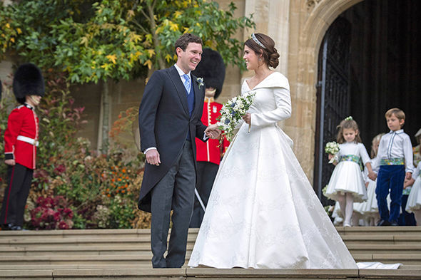 Princess Eugenie and Jack Brooksbank beamed at royal well wishers after marrying Image GETTY