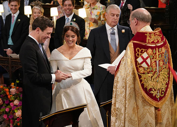 Princess Eugenie and Jack Brooksbank giggled as they exchanged rings Image PA