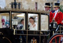 Princess Eugenie and Jack Brooksbank took part in a carriage procession along the streets of Windsor Image GETTY
