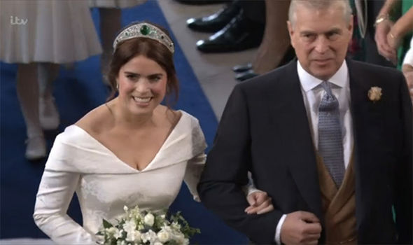 Princess Eugenie arrives with her father Prince Andrew Image ITV