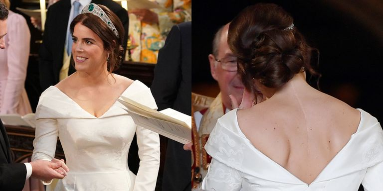 Princess Eugenie made a powerful decision to show her scars from scoliosis surgery in her wedding day look Photo C GETTY