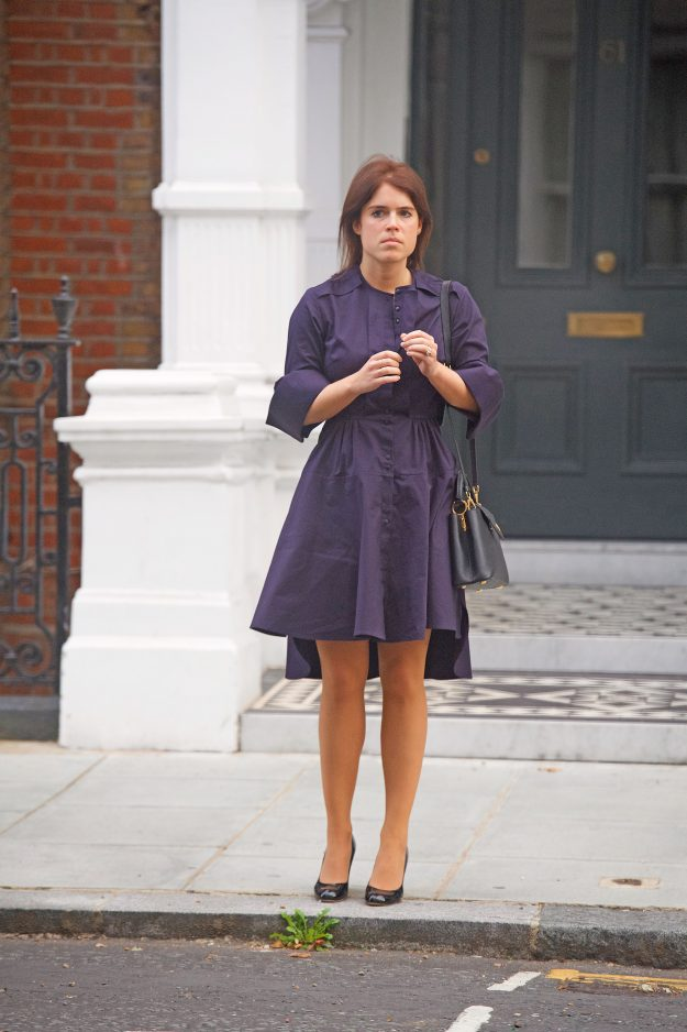 Princess Eugenie showed off her slim waist in her royal blue dress as she stepped out in London Photo C GETTY