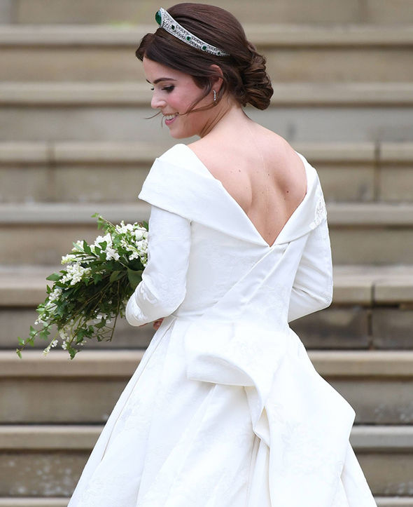 Princess Eugenie specifically requested to have a low backline in her dress Image EPA