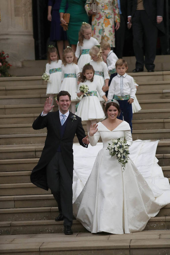 Princess Eugenie walk down the West Steps with her husband Jack Image PA
