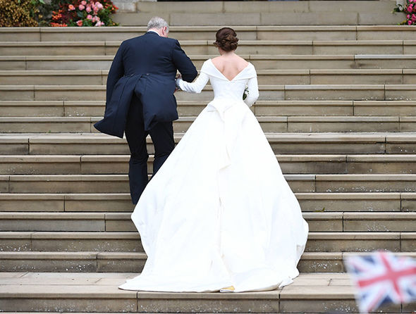 Princess Eugenie waved to royal fans before heading into the chapel Image EPA