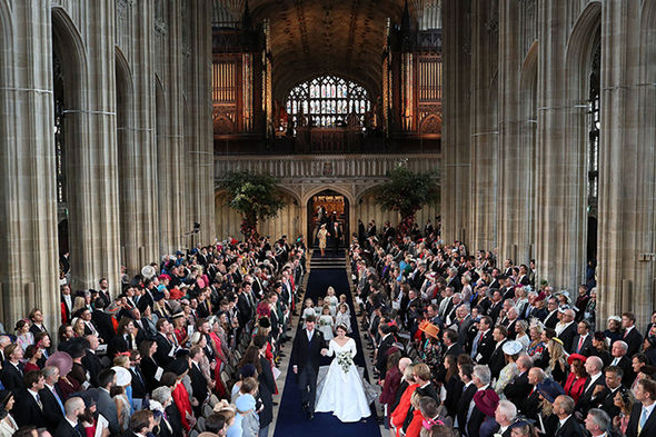 Princess Eugenies wedding live 850 guests packed out the Windsor chapel Image GETTY
