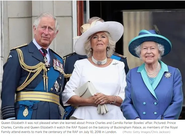 Queen Elizabeth II was not pleased when she learned about Prince Charles and Camilla Parker Bowles affair Photo C GETTY
