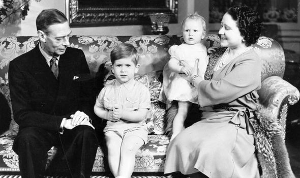 Queen Mother relaxes with King George VI grandson Prince Charles and granddaughter Princess Anne Image GETTY