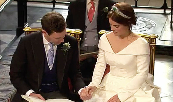 Royal Wedding Eugenie and Jack looked adoringly at each other during the ceremony Image ITV