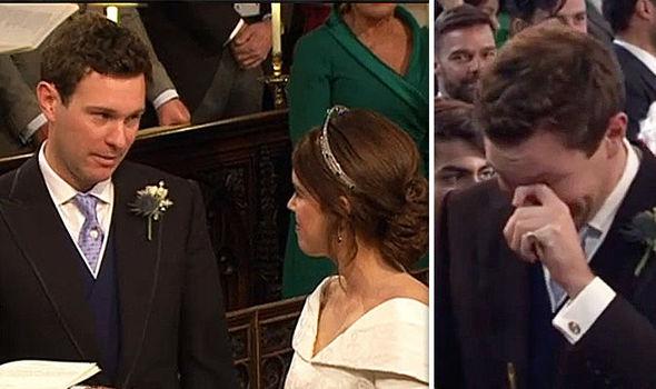 Royal Wedding Groom Jack Brooksbank burst into tears as Princess Eugenie arrived Image ITV