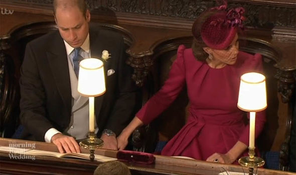 Royal Wedding Kate and William holding hands inside the chapel Image GETTY