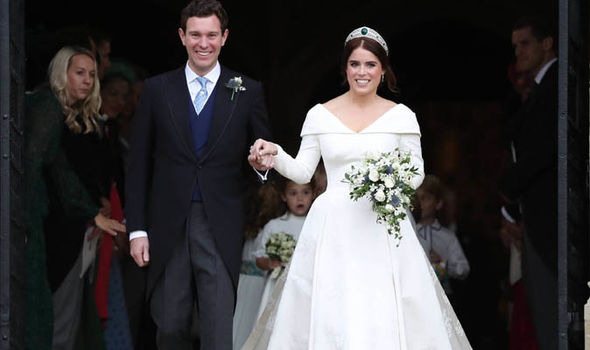 Royal Wedding Princess Eugenie and Jack Brooksbank kissed outside the chapel Image PA