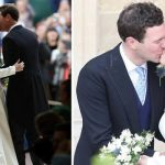 Royal Wedding Princess Eugenie and Jack Brooksbank kissed outside the chapel Image PA