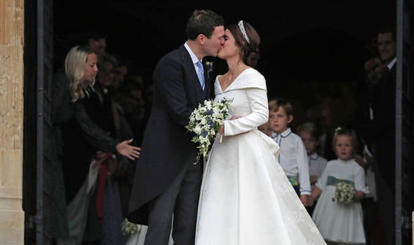 Royal Wedding Princess Eugenie and Jack were all smiles after the kiss Image PA